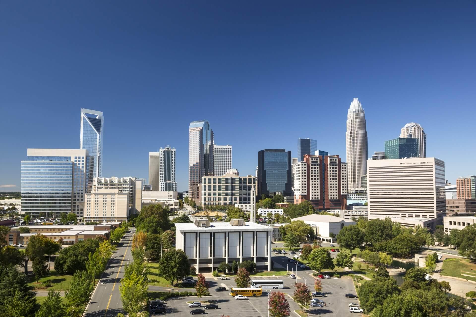 A shot of the Charlotte city skyline.