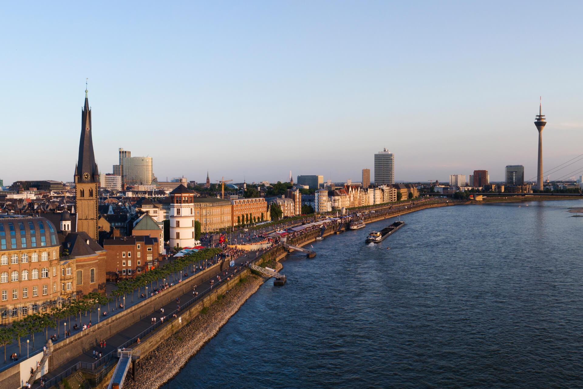 The Rhine River in Düsseldorf, Germany.