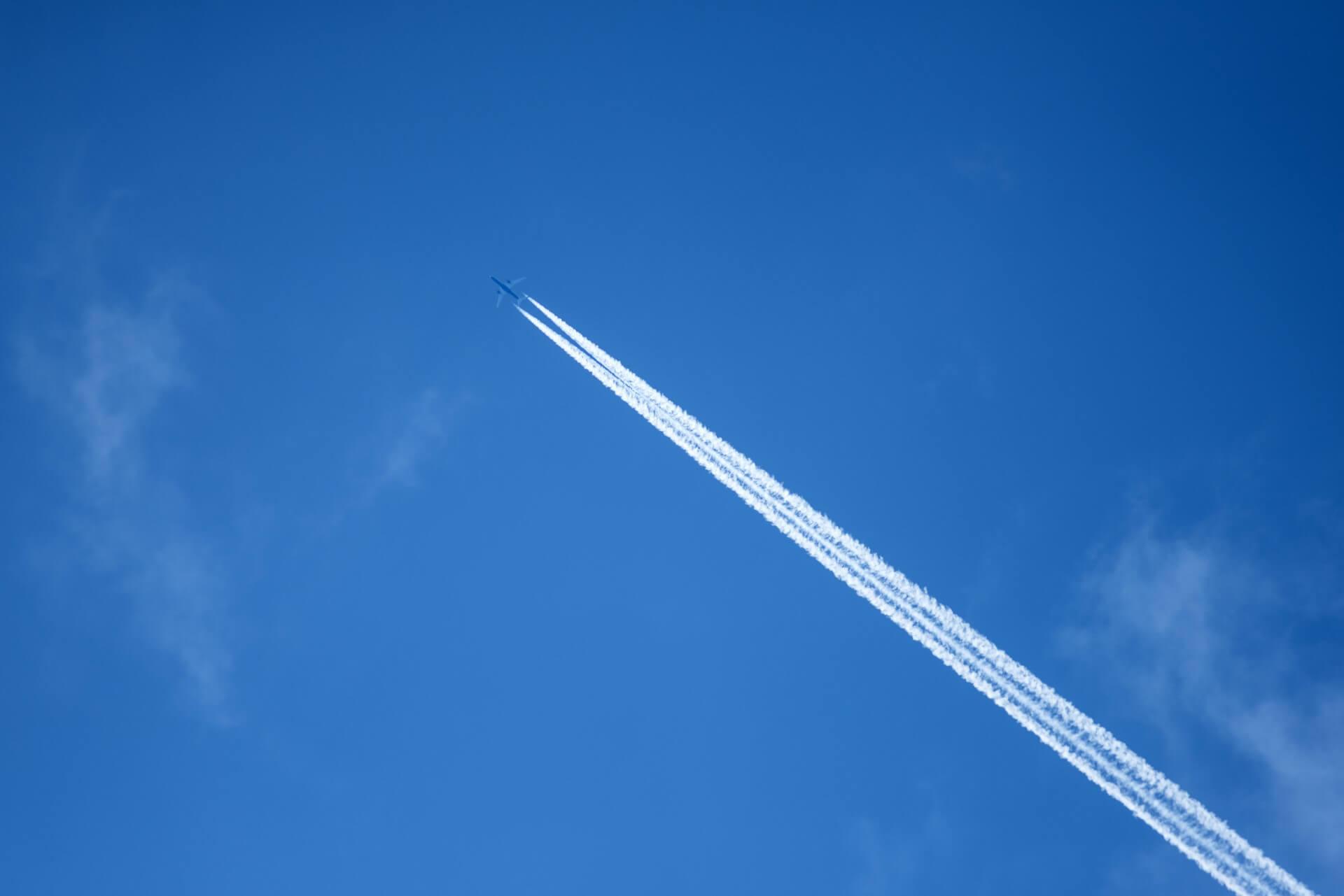 A jet leaving vapor trails.